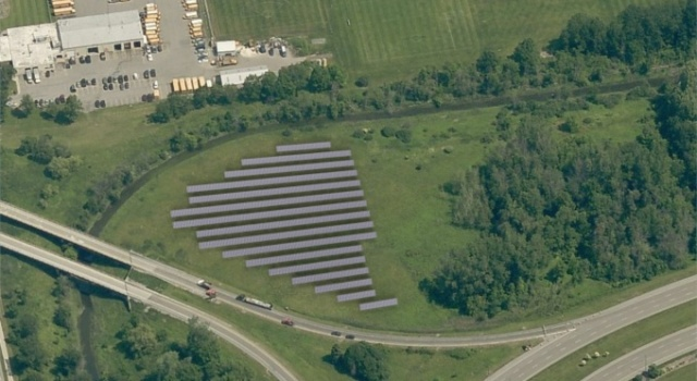 Solar Arrays in a field at the University at Buffalo.