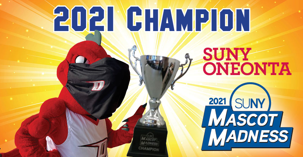 2021 Mascot Madness champion Red the Dragon of SUNY Oneonta.