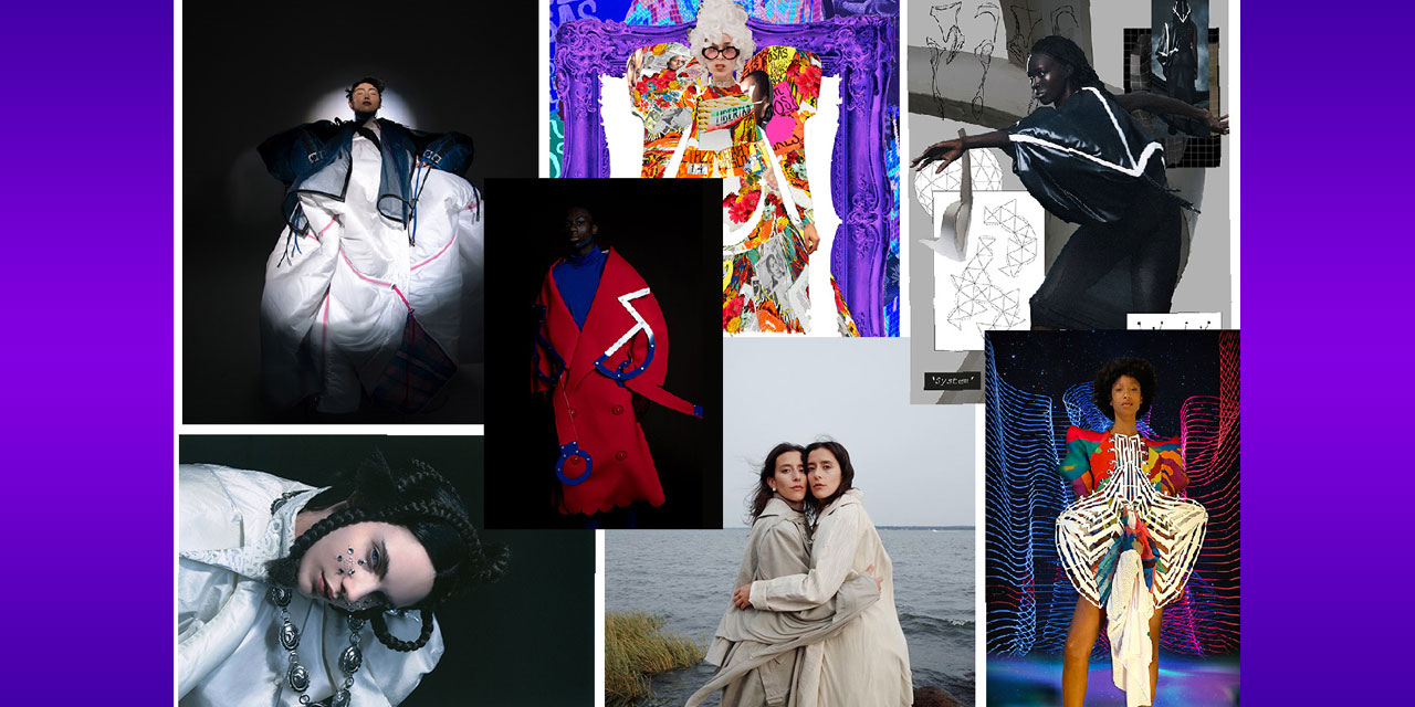 Collage of fashion designs from FIT graduates..