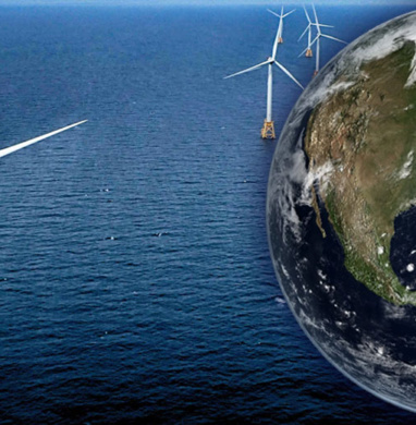 Windmills in water with a graphic of planet earth to the side.