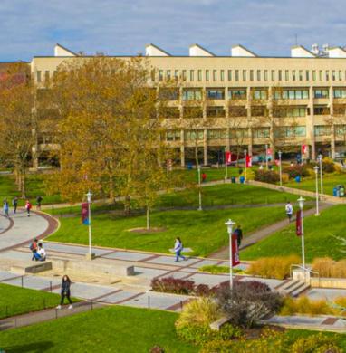 Stony brook university campus aerial photo.